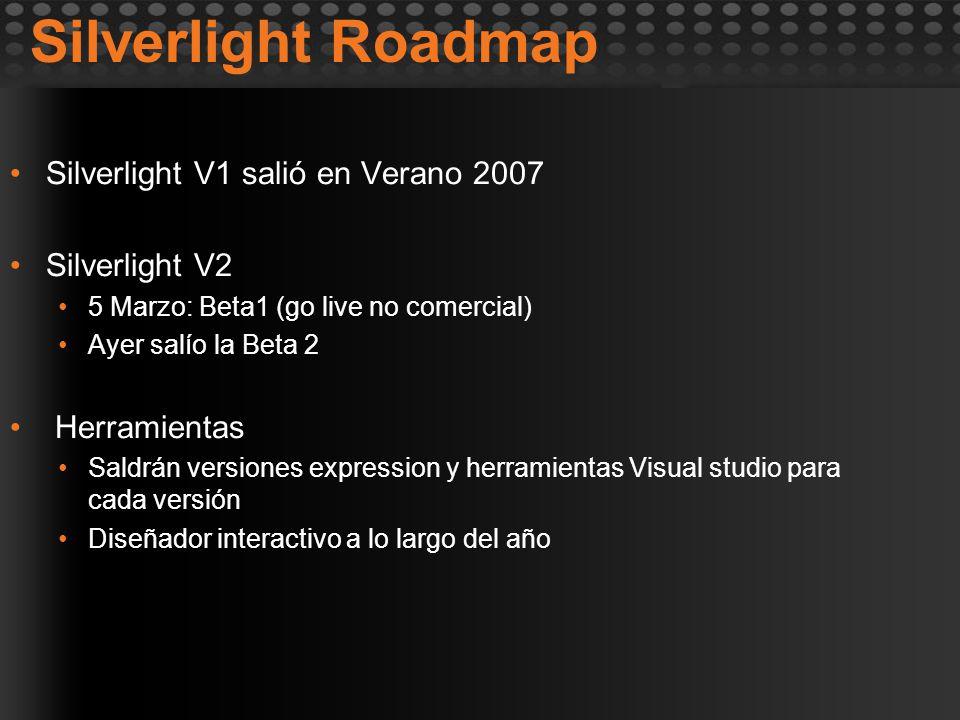 Silverlight Roadmap Silverlight V1 salió en Verano 2007 Silverlight V2 5 Marzo: Beta1 (go live no comercial) Ayer salío la Beta 2 Herramientas Saldrán versiones expression y herramientas Visual studio para cada versión Diseñador interactivo a lo largo del año