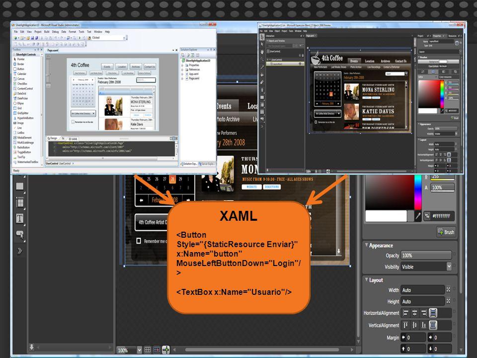 XAML <Button Style= {StaticResource Enviar} x:Name= button MouseLeftButtonDown= Login / >