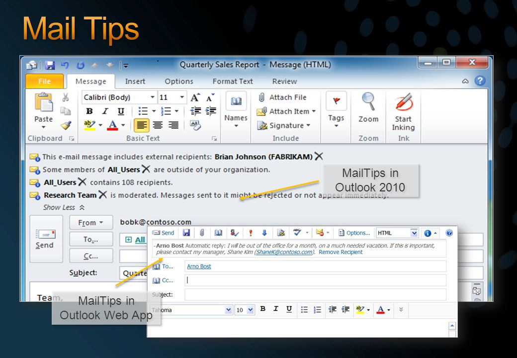 MailTips in Outlook 2010 MailTips in Outlook Web App