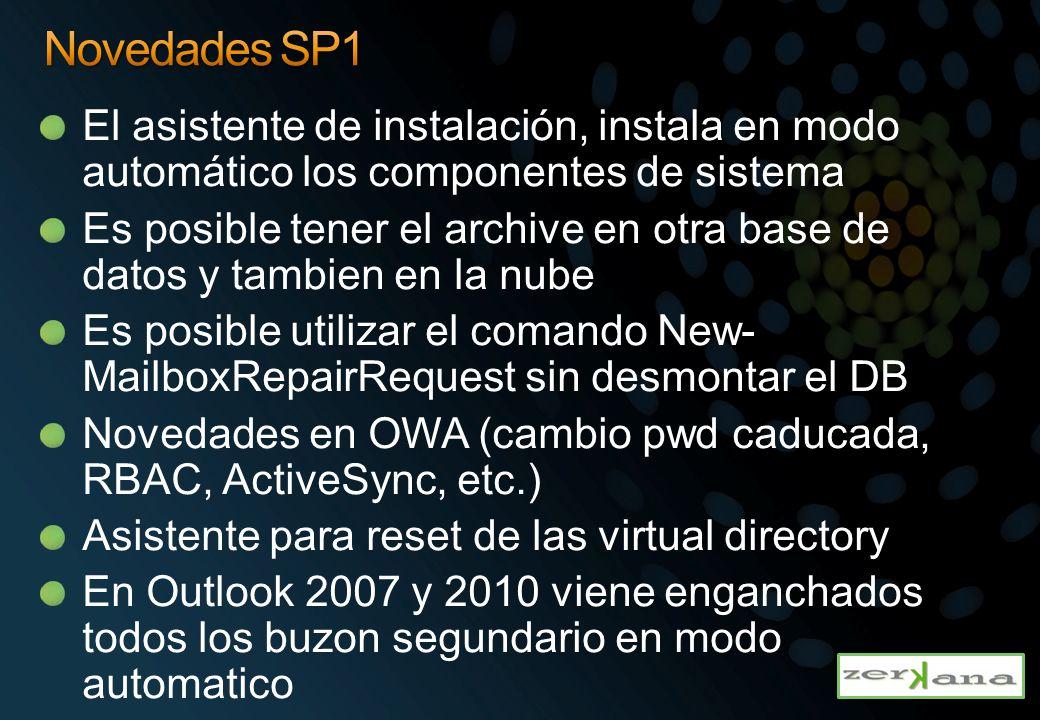 El asistente de instalación, instala en modo automático los componentes de sistema Es posible tener el archive en otra base de datos y tambien en la n