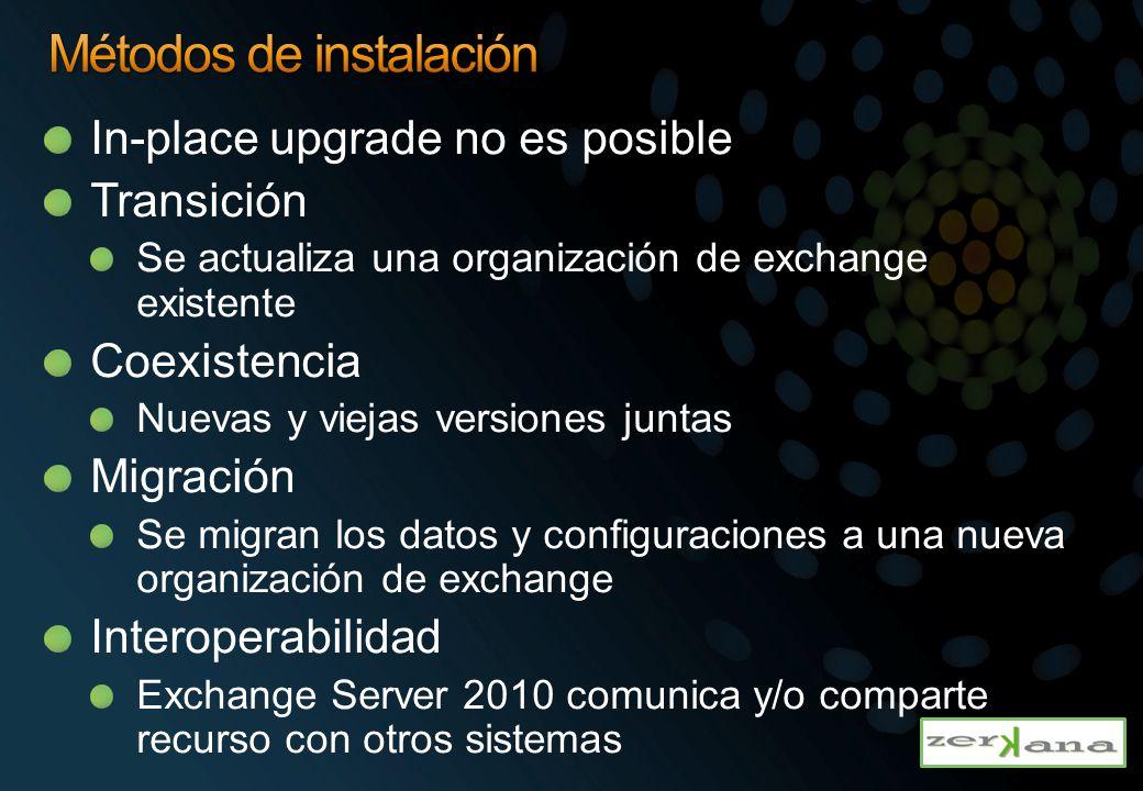 In-place upgrade no es posible Transición Se actualiza una organización de exchange existente Coexistencia Nuevas y viejas versiones juntas Migración