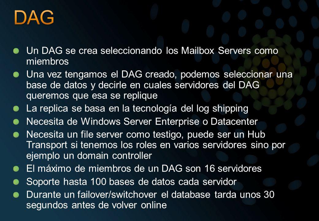 Un DAG se crea seleccionando los Mailbox Servers como miembros Una vez tengamos el DAG creado, podemos seleccionar una base de datos y decirle en cual