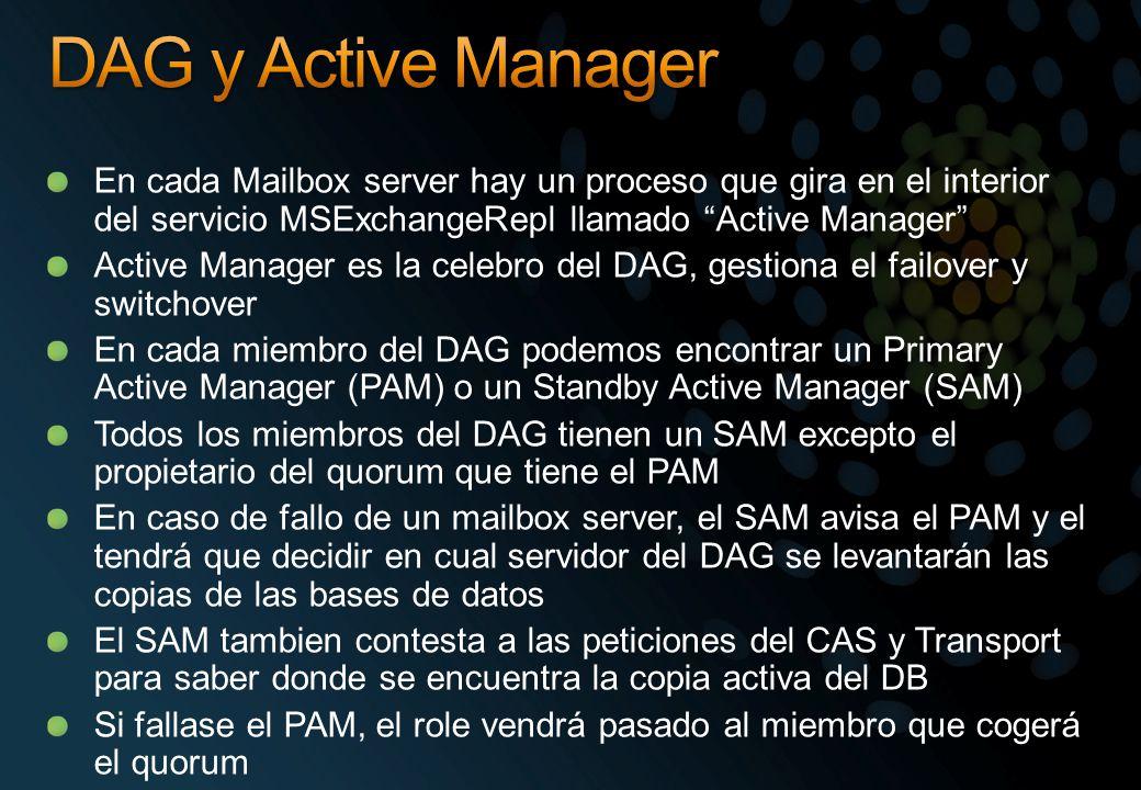 En cada Mailbox server hay un proceso que gira en el interior del servicio MSExchangeRepl llamado Active Manager Active Manager es la celebro del DAG,