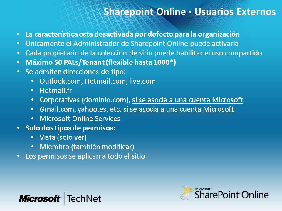 Sharepoint Online · Usuarios Externos La característica esta desactivada por defecto para la organización Únicamente el Administrador de Sharepoint On