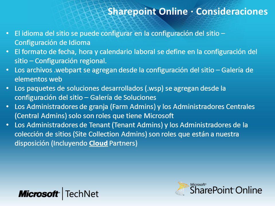 Sharepoint Online · Consideraciones El idioma del sitio se puede configurar en la configuración del sitio – Configuración de Idioma El formato de fech