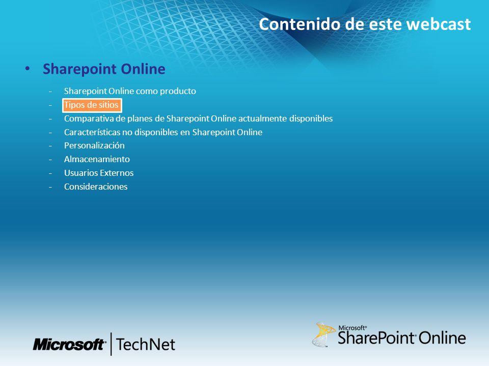 Contenido de este webcast Sharepoint Online Sharepoint Online como producto Tipos de sitios Comparativa de planes de Sharepoint Online actualmente dis