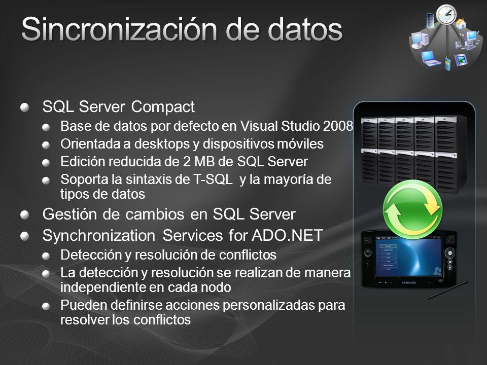 SQL Server Compact Base de datos por defecto en Visual Studio 2008 Orientada a desktops y dispositivos móviles Edición reducida de 2 MB de SQL Server