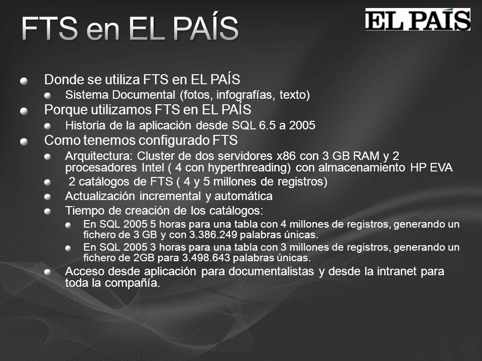 Donde se utiliza FTS en EL PAÍS Sistema Documental (fotos, infografías, texto) Porque utilizamos FTS en EL PAÍS Historia de la aplicación desde SQL 6.