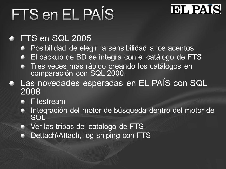 FTS en SQL 2005 Posibilidad de elegir la sensibilidad a los acentos El backup de BD se integra con el catálogo de FTS Tres veces más rápido creando lo