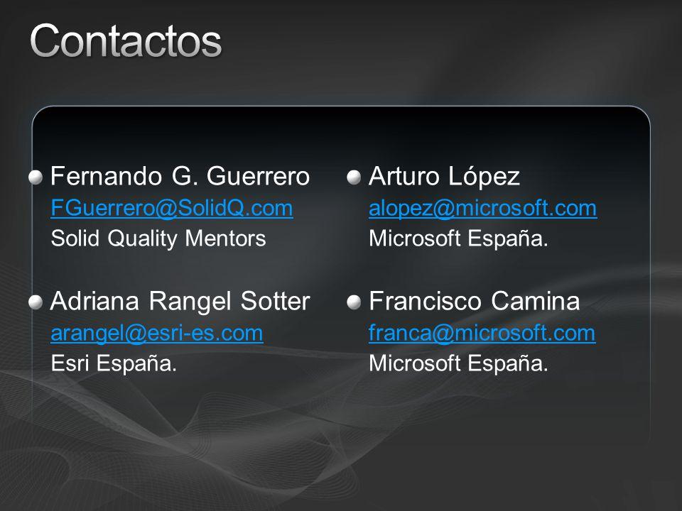 Fernando G. Guerrero FGuerrero@SolidQ.com Solid Quality Mentors Adriana Rangel Sotter arangel@esri-es.com Esri España. Arturo López alopez@microsoft.c