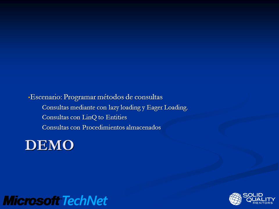 DEMO Escenario: Programar métodos de consultas Escenario: Programar métodos de consultas Consultas mediante con lazy loading y Eager Loading.