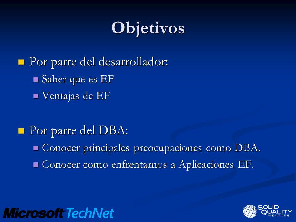 Objetivos Por parte del desarrollador: Por parte del desarrollador: Saber que es EF Saber que es EF Ventajas de EF Ventajas de EF Por parte del DBA: Por parte del DBA: Conocer principales preocupaciones como DBA.