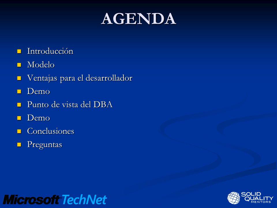 AGENDA Introducción Introducción Modelo Modelo Ventajas para el desarrollador Ventajas para el desarrollador Demo Demo Punto de vista del DBA Punto de vista del DBA Demo Demo Conclusiones Conclusiones Preguntas Preguntas