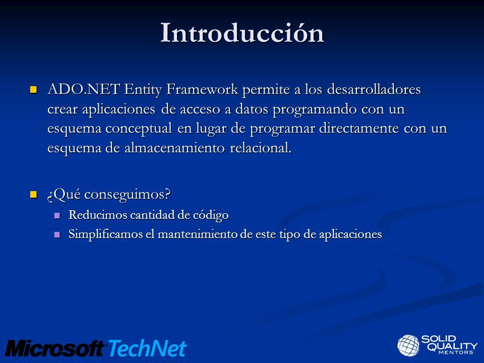 Introducción ADO.NET Entity Framework permite a los desarrolladores crear aplicaciones de acceso a datos programando con un esquema conceptual en lugar de programar directamente con un esquema de almacenamiento relacional.