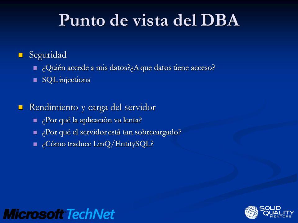 Punto de vista del DBA Seguridad Seguridad ¿Quién accede a mis datos?¿A que datos tiene acceso.