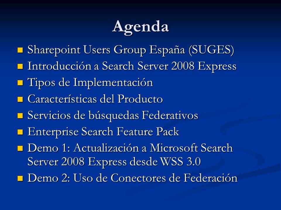 Sharepoint Users Group España (SUGES) Grupo de usuarios de Sharepoint España Grupo de usuarios de Sharepoint España Surge de la iniciativa de varios MVP de Sharepoint con el objetivo de impulsar la difusión y conocimiento de la plataforma SharePoint en España Surge de la iniciativa de varios MVP de Sharepoint con el objetivo de impulsar la difusión y conocimiento de la plataforma SharePoint en España www.suges.es www.suges.es www.codeplex.es/suges www.codeplex.es/suges