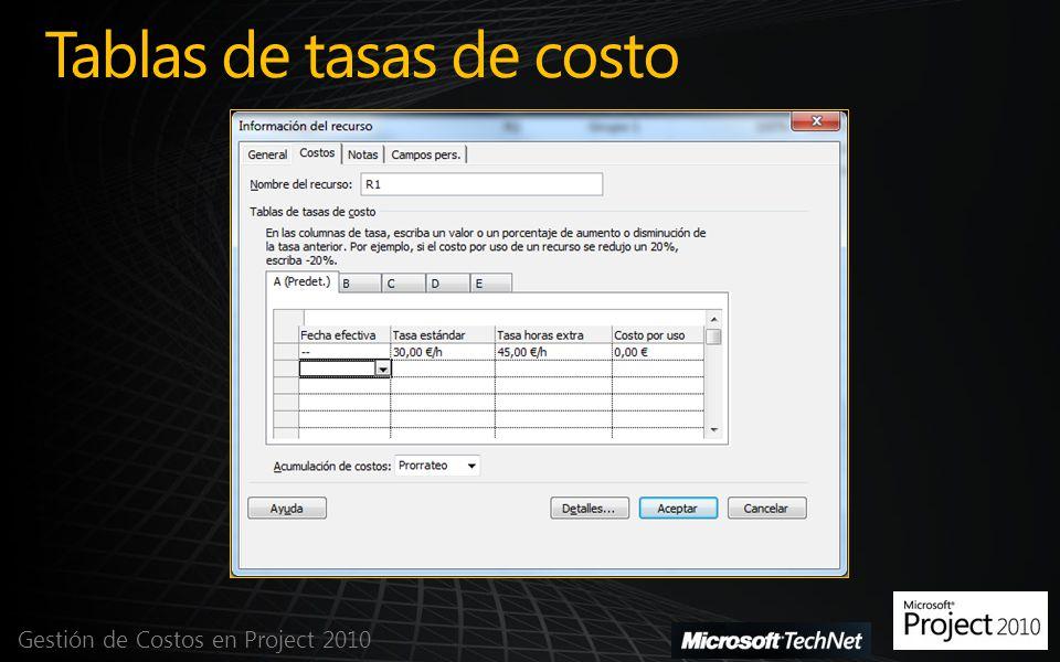 Tablas de tasas de costo Gestión de Costos en Project 2010
