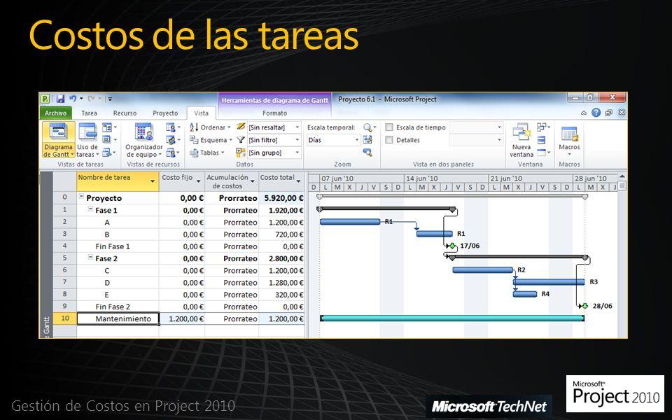 Costos de las tareas Gestión de Costos en Project 2010