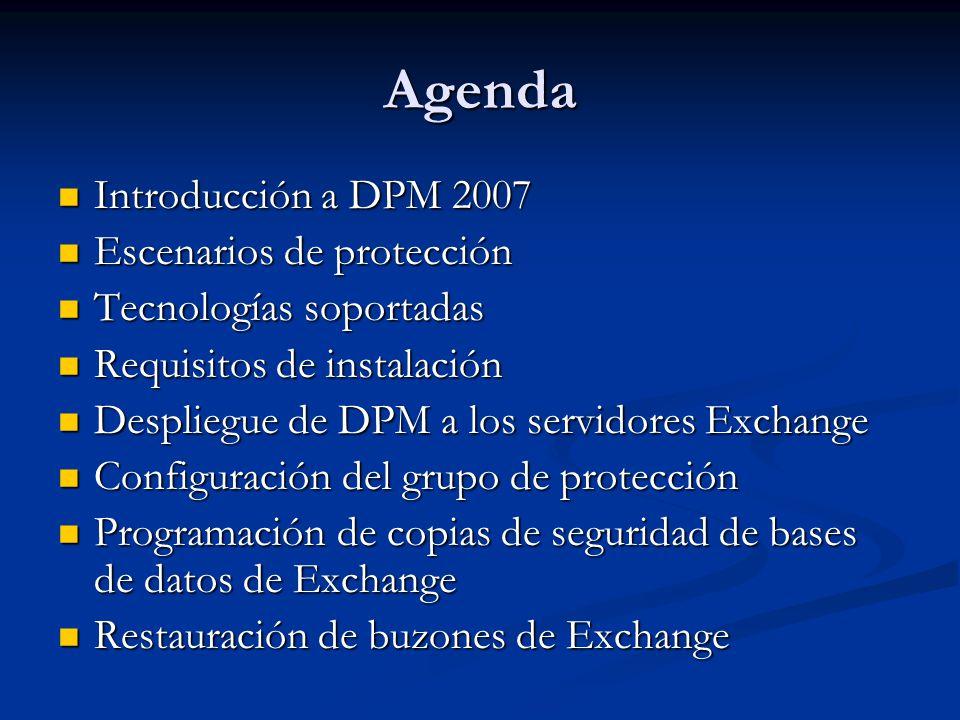 Programación de copias de seguridad de Exchange Server DPM 2007 permite crear puntos de recuperación de hasta 15 minutos DPM 2007 permite crear puntos de recuperación de hasta 15 minutos La protección a largo plazo debe tener en cuenta el periodo de retención según las políticas de cada organización o la legislación vigente.