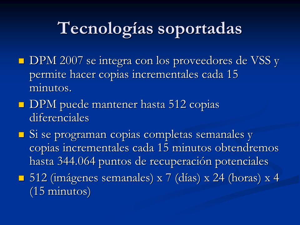 Tecnologías soportadas DPM 2007 ha sido diseñado para soportar de forma nativa tecnologías Microsoft DPM 2007 ha sido diseñado para soportar de forma nativa tecnologías Microsoft La sincronización basada en bloques se utiliza para realizar la copia inicial La sincronización basada en bloques se utiliza para realizar la copia inicial Posteriormente DPM realiza copias completas exprés utilizando VSS Posteriormente DPM realiza copias completas exprés utilizando VSS