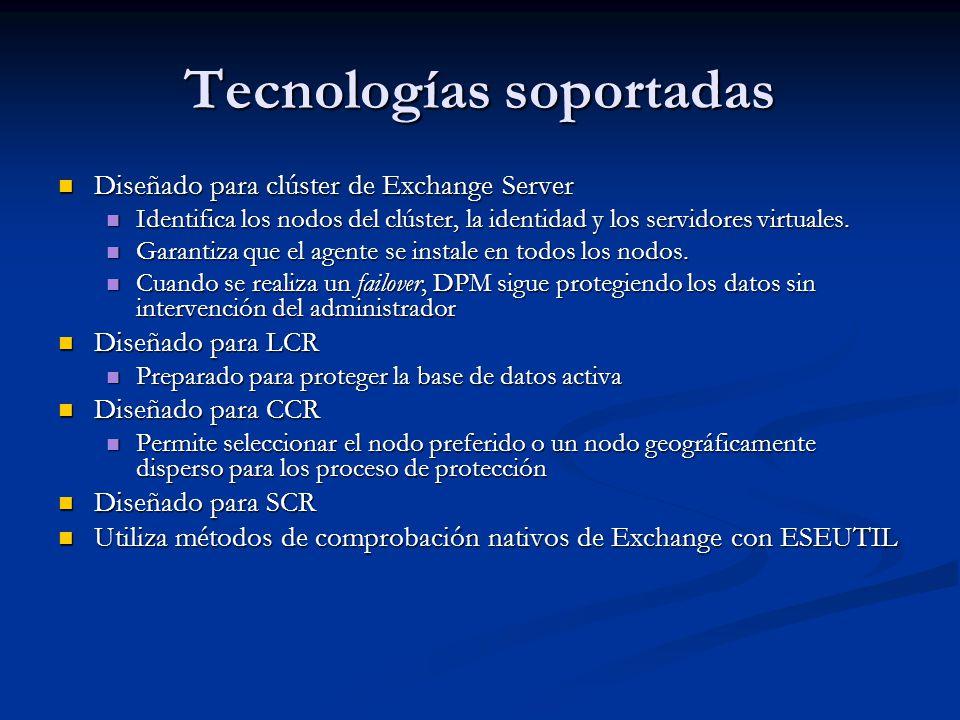 Requisitos de instalación Servidor DPM Servidor DPM KB940349 KB940349 PowerShell 1.0 PowerShell 1.0.Net framework 2.0.Net framework 2.0 IIS 6.0 / 7.0 IIS 6.0 / 7.0 SQL Server 2005 Workstation SP2 / SQL Server 2005 SP2 with Reporting Services SQL Server 2005 Workstation SP2 / SQL Server 2005 SP2 with Reporting Services Windows Server 2003 SP2 / Windows Advanced Server 2003 SP2 / Windows Storage Server 2003 SP2 Windows Server 2003 SP2 / Windows Advanced Server 2003 SP2 / Windows Storage Server 2003 SP2 Windows Server 2008 Windows Server 2008 KB949799 debe estar instalado para SystemState KB949799 debe estar instalado para SystemState Directorio Activo (Windows 2000 / 2003 / 2008) Directorio Activo (Windows 2000 / 2003 / 2008) Mínimo 512 Kbps de ancho de banda para los equipos protegidos Mínimo 512 Kbps de ancho de banda para los equipos protegidos Consola de administración Consola de administración Windows XP SP2 o Windows Vista Windows XP SP2 o Windows Vista Windows Server 2003 SP2 Windows Server 2003 SP2