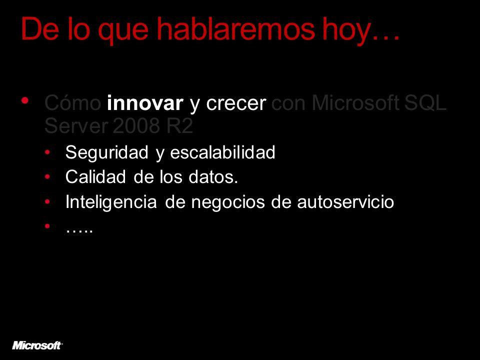 De lo que hablaremos hoy… Cómo innovar y crecer con Microsoft SQL Server 2008 R2 Seguridad y escalabilidad Calidad de los datos. Inteligencia de negoc