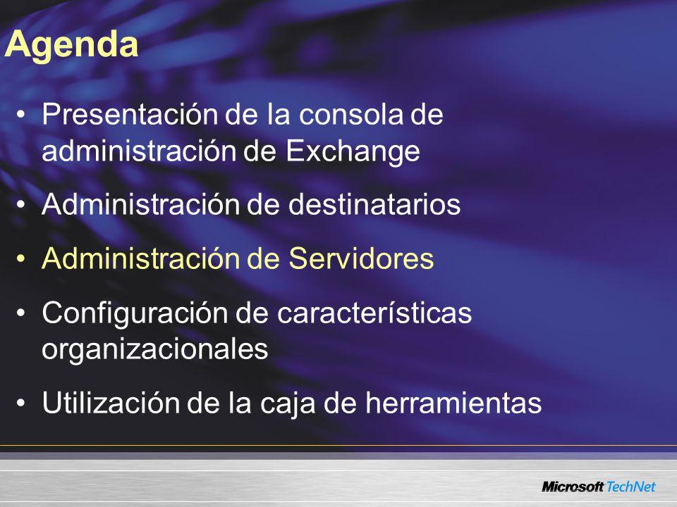 Presentación de la consola de administración de Exchange Administración de destinatarios Administración de Servidores Configuración de características organizacionales Utilización de la caja de herramientas Agenda