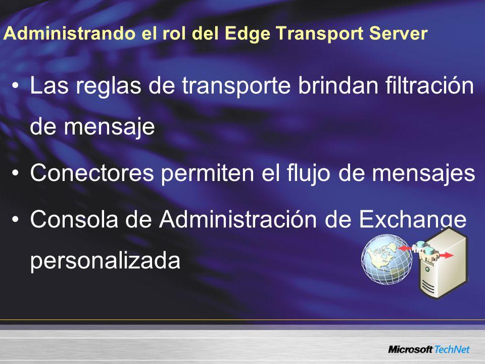 Administrando el rol del Edge Transport Server Las reglas de transporte brindan filtración de mensaje Conectores permiten el flujo de mensajes Consola de Administración de Exchange personalizada