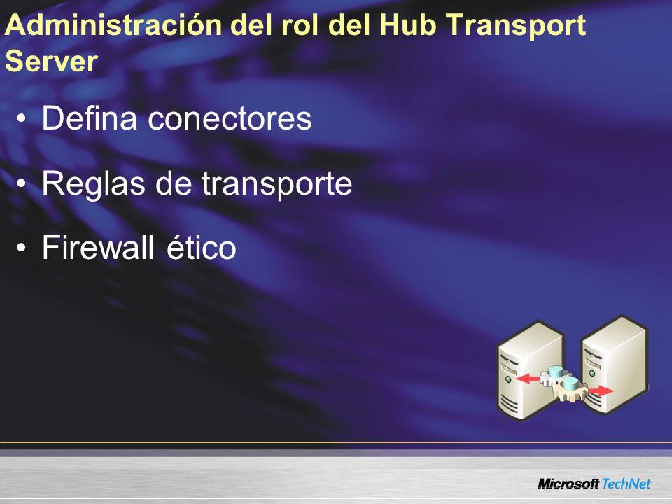 Administración del rol del Hub Transport Server Defina conectores Reglas de transporte Firewall ético