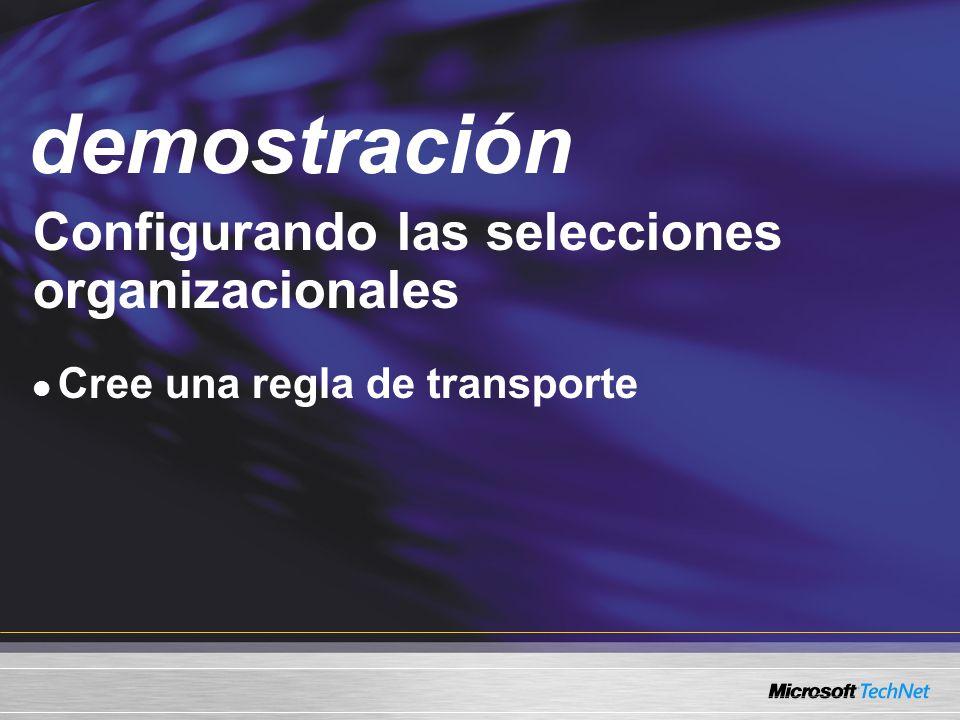 Demo Configurando las selecciones organizacionales Cree una regla de transporte demostración
