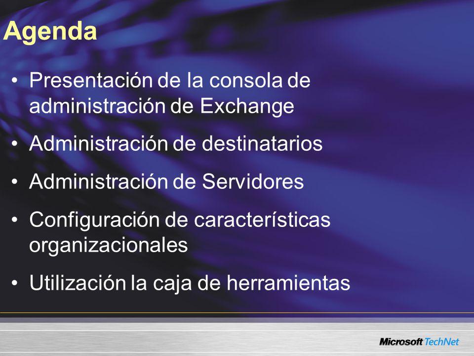 Presentación de la consola de administración de Exchange Administración de destinatarios Administración de Servidores Configuración de características organizacionales Utilización la caja de herramientas Agenda