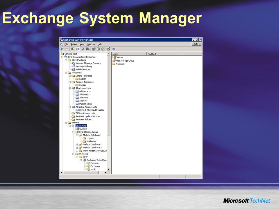 Consola de Administración de Exchange Arbol Consola 1 1 1 1 Panel de resultado 2 2 2 2 Panel de trabajo 3 3 3 3 Panel de acción 4 4 4 4
