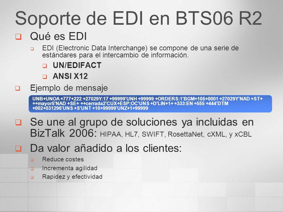 Soporte de EDI en BTS06 R2 Qué es EDI EDI (Electronic Data Interchange) se compone de una serie de estándares para el intercambio de información. UN/E