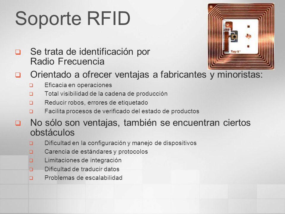 Soporte RFID Se trata de identificación por Radio Frecuencia Orientado a ofrecer ventajas a fabricantes y minoristas: Eficacia en operaciones Total vi
