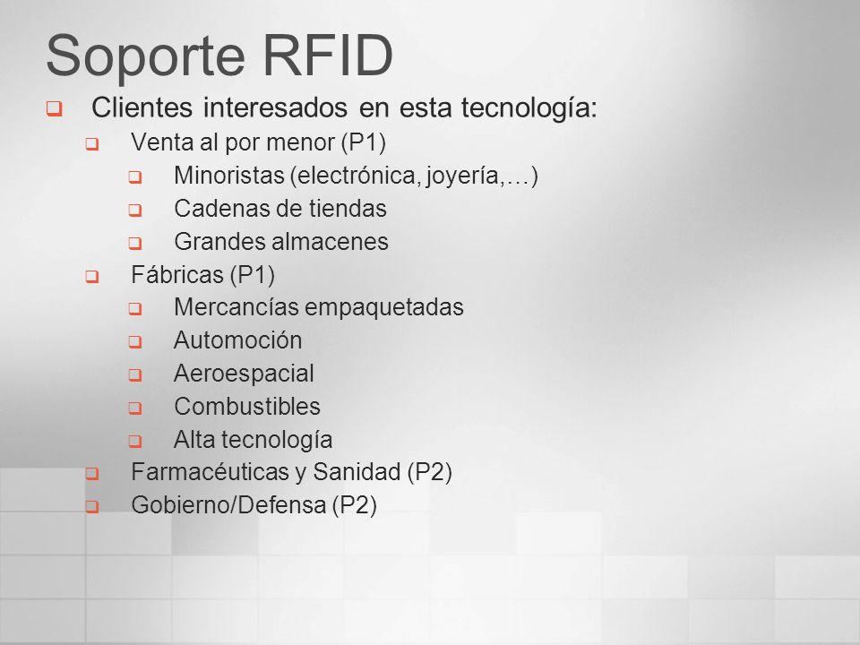 Soporte RFID Clientes interesados en esta tecnología: Venta al por menor (P1) Minoristas (electrónica, joyería,…) Cadenas de tiendas Grandes almacenes
