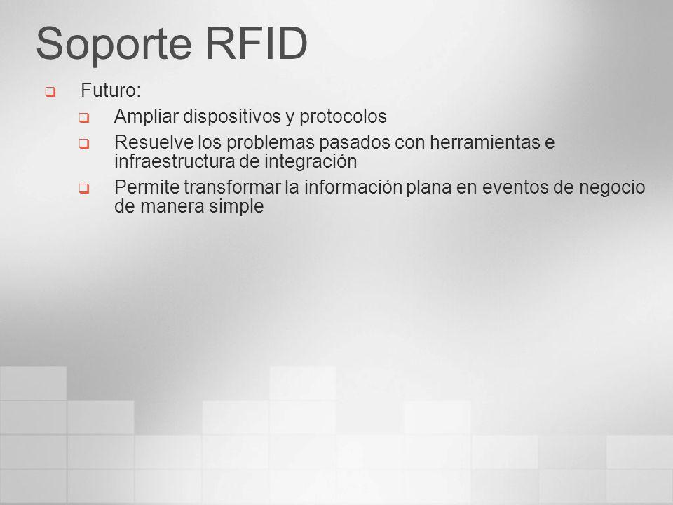 Soporte RFID Futuro: Ampliar dispositivos y protocolos Resuelve los problemas pasados con herramientas e infraestructura de integración Permite transf