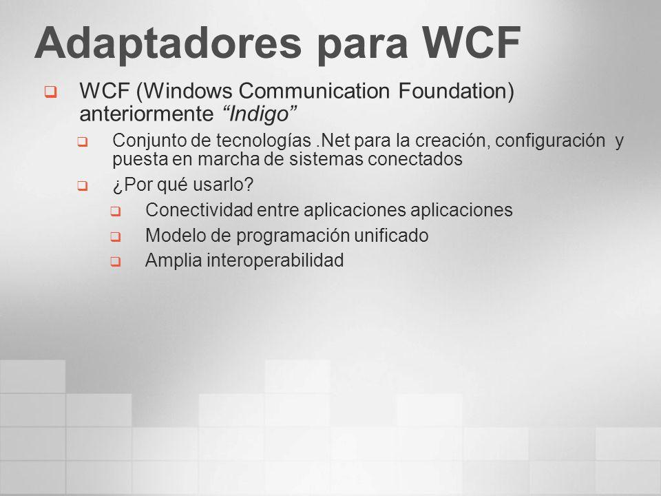 Adaptadores para WCF WCF (Windows Communication Foundation) anteriormente Indigo Conjunto de tecnologías.Net para la creación, configuración y puesta