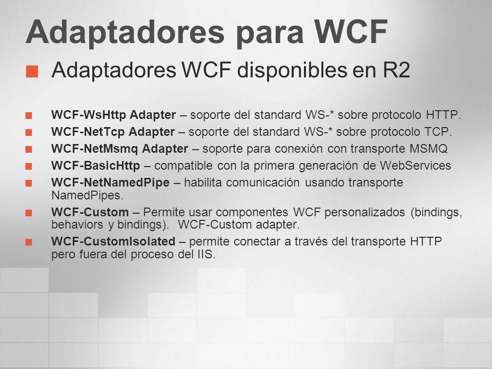 Adaptadores para WCF Adaptadores WCF disponibles en R2 WCF-WsHttp Adapter – soporte del standard WS-* sobre protocolo HTTP. WCF-NetTcp Adapter – sopor