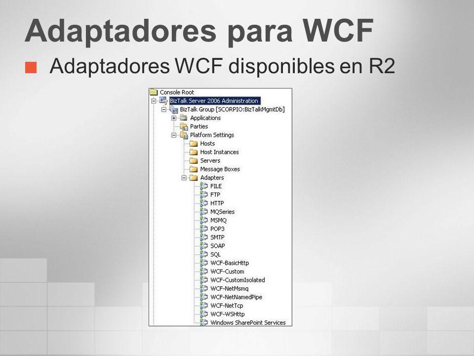 Adaptadores para WCF Adaptadores WCF disponibles en R2