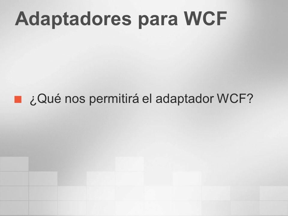 Adaptadores para WCF ¿Qué nos permitirá el adaptador WCF?