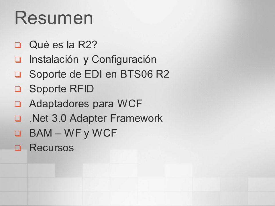 Qué es la R2 Es la nueva release de BizTalk Server Amplia funcionalidades de BizTalk Server 2006 Mejora la gestión de procesos de negocio (BPM) Incluirá más adaptadores, EDI (Intercambio Electrónico de Datos), RFID (identificación por radiofrecuencia) Soporte para WCF (Windows Communication Foundation) Soporte para WF, para integrar workflows Adapter Framework sobre WCF Nuevos interceptores BAM (Business Activity Monitoring) para WCF y WF