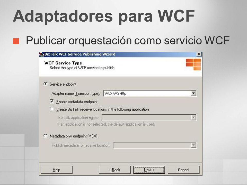 Adaptadores para WCF Publicar orquestación como servicio WCF