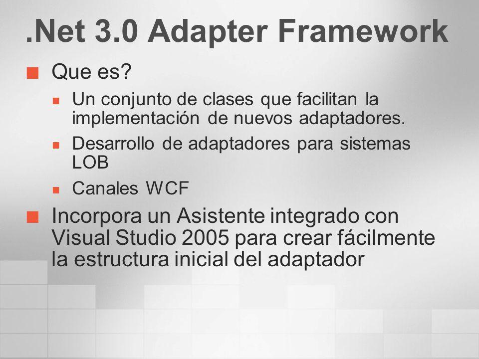 .Net 3.0 Adapter Framework Que es? Un conjunto de clases que facilitan la implementación de nuevos adaptadores. Desarrollo de adaptadores para sistema