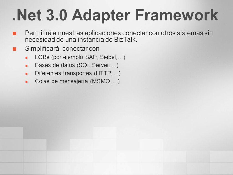 .Net 3.0 Adapter Framework Permitirá a nuestras aplicaciones conectar con otros sistemas sin necesidad de una instancia de BizTalk. Simplificará conec