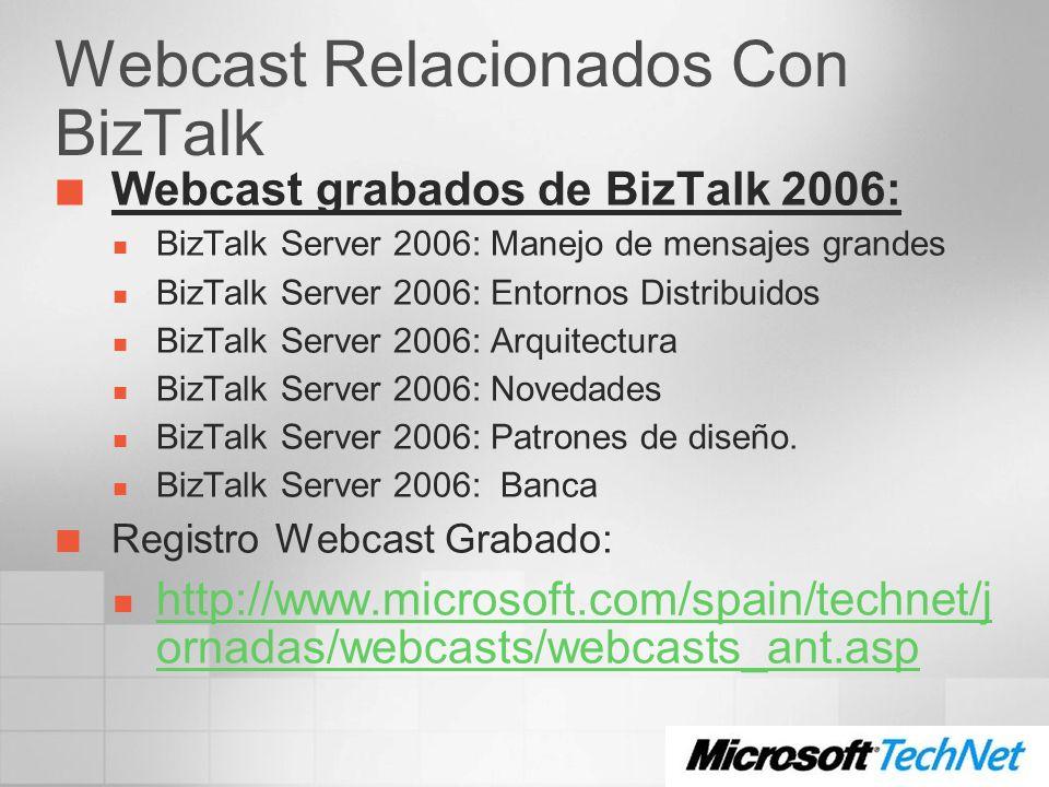 Webcast Relacionados Con BizTalk Webcast grabados de BizTalk 2006: BizTalk Server 2006: Manejo de mensajes grandes BizTalk Server 2006: Entornos Distr