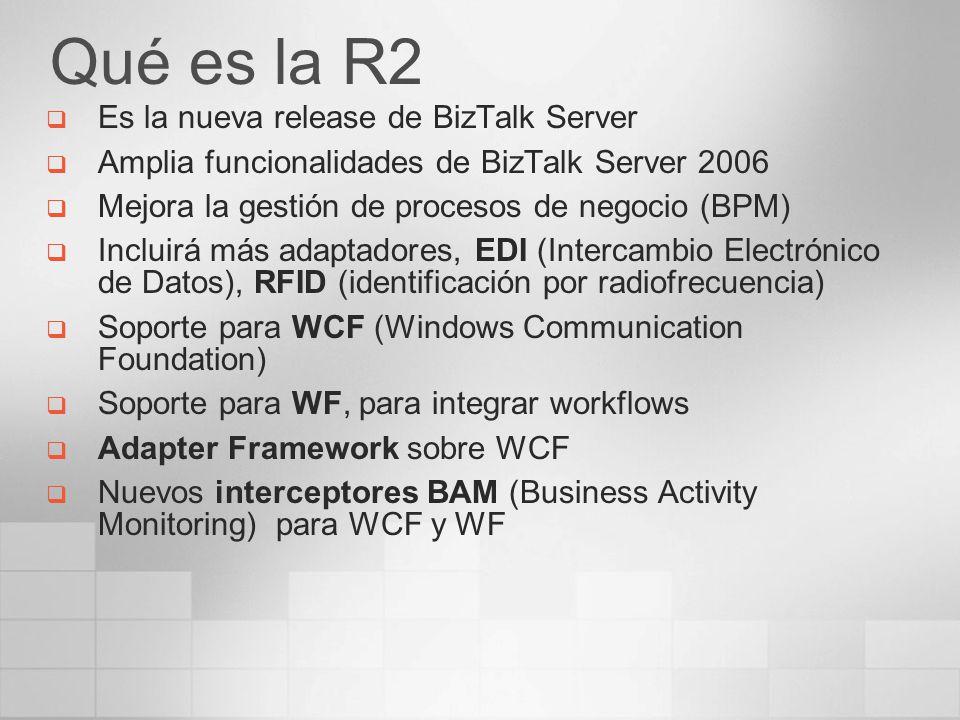 Qué es la R2 Es la nueva release de BizTalk Server Amplia funcionalidades de BizTalk Server 2006 Mejora la gestión de procesos de negocio (BPM) Inclui