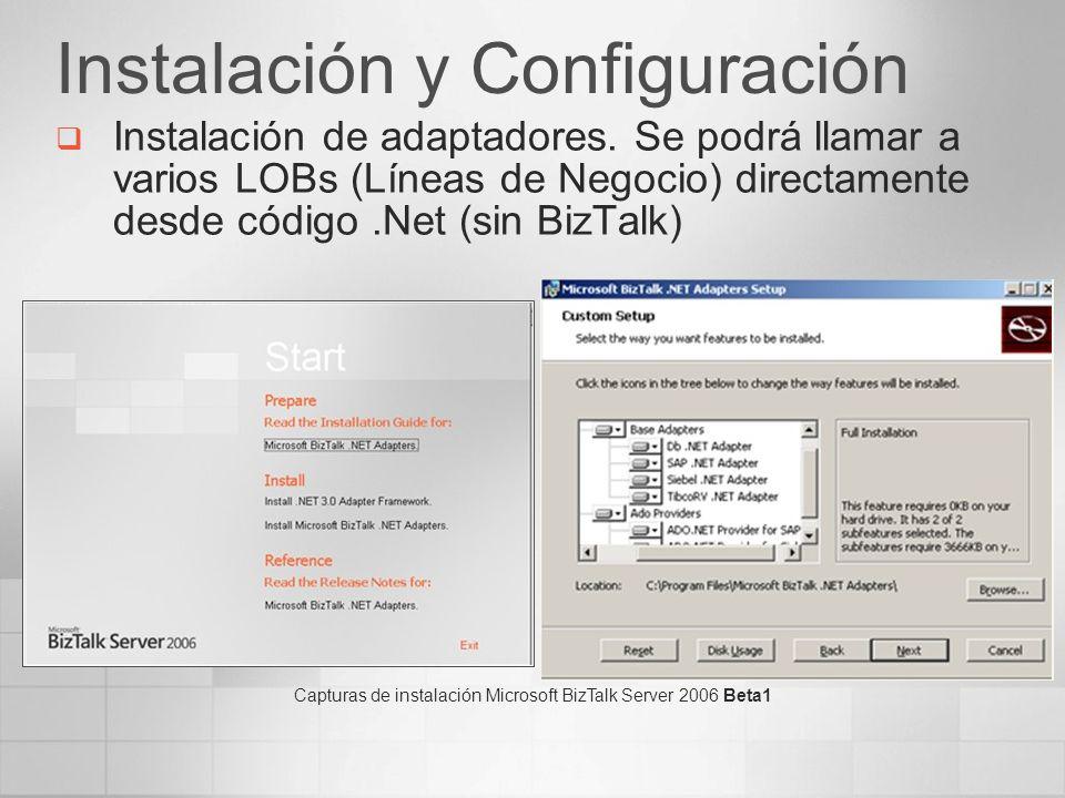 Instalación y Configuración Instalación de adaptadores. Se podrá llamar a varios LOBs (Líneas de Negocio) directamente desde código.Net (sin BizTalk)