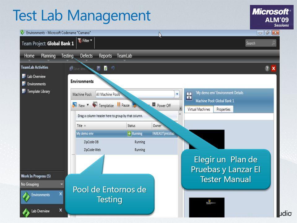 Pool de Entornos de Testing Elegir un Plan de Pruebas y Lanzar El Tester Manual