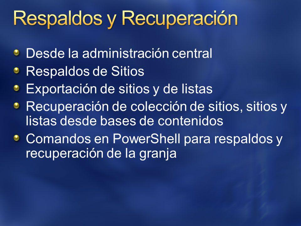 Desde la administración central Respaldos de Sitios Exportación de sitios y de listas Recuperación de colección de sitios, sitios y listas desde bases de contenidos Comandos en PowerShell para respaldos y recuperación de la granja
