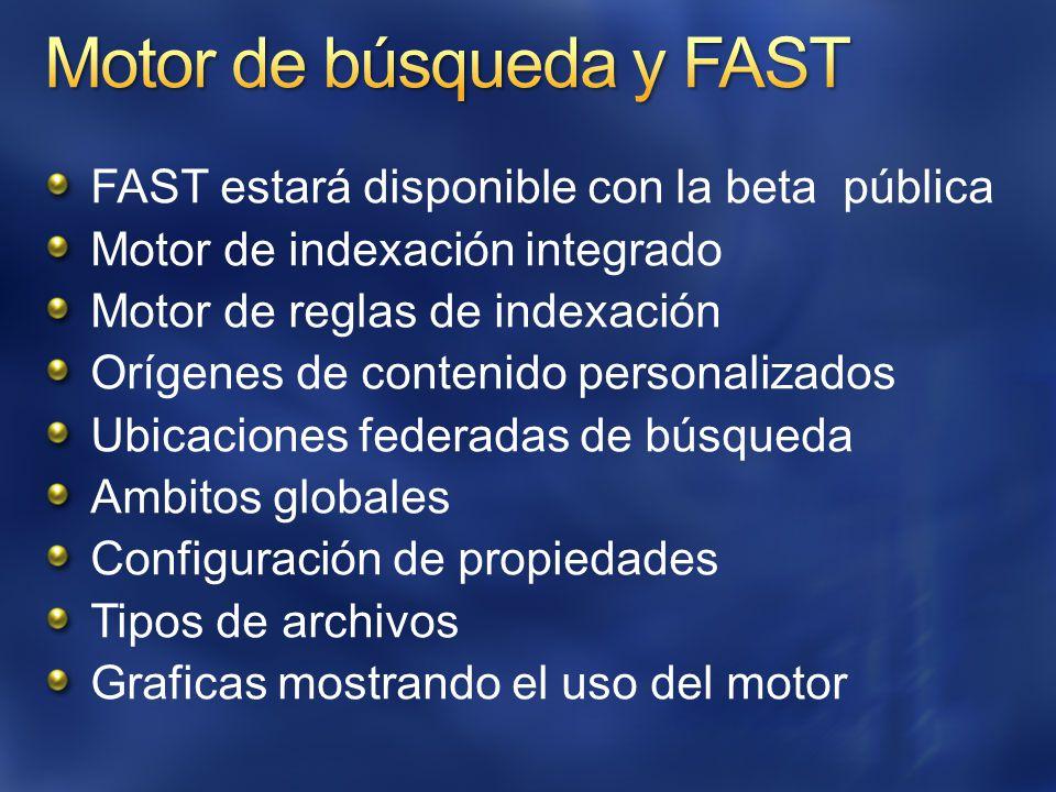 FAST estará disponible con la beta pública Motor de indexación integrado Motor de reglas de indexación Orígenes de contenido personalizados Ubicaciones federadas de búsqueda Ambitos globales Configuración de propiedades Tipos de archivos Graficas mostrando el uso del motor